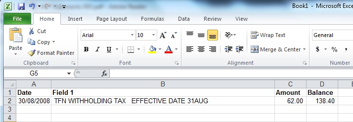 It can be seen from this screenshot of the Excel spreadsheet that the data is getting close to being ready for further analysis such as money tracing.