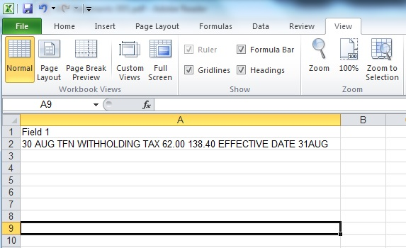 Being able to copy and paste the data straight into an Excel spreadsheet was key, however having all the data in a single 'string' meant that additional processing was required.