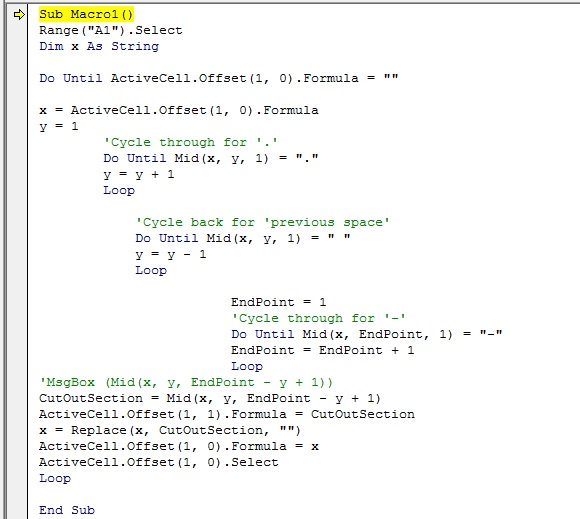 This is the VBA script that I wrote to extract the amount and balance of the account from the text sting.